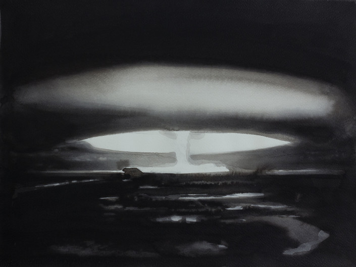 RADENKO MILAK | 30 October 1961. Nuclear testing: The Soviet Union detonates the hydrogen bomb Tsar Bomba over Novaya Zemlya; at 50 megatons of yield, it is still the largest explosive device ever detonated, nuclear or otherwise, from the series 365 | watercolor