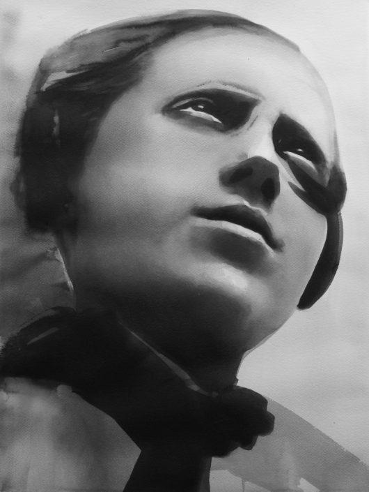 RADENKO MILAK | Alexander Rodchenko, Pioneer, 2014 watercolor on paper 72 x 56 cm RM349