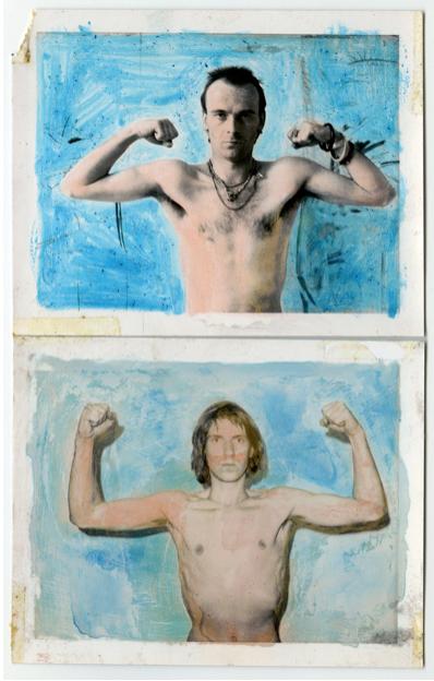 Rudolf Bonvie, Kraft (strength), 1975 paint on polaroid each 8.5 x 10.8 cm