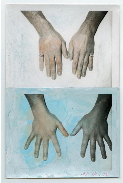 Rudolf Bonvie, Hände (hands), 1975 paint on polaroid 16.5 x 11.8 cm