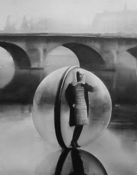 RADENKO MILAK | On the Seine In 1963, photographer Melvin Sokolsky shot the iconic Bubble fashion series in Paris for Harper's Bazaar magazine's spring collection. Alix of Modern 2014 watercolor on paper 70 x 56 cm RM342