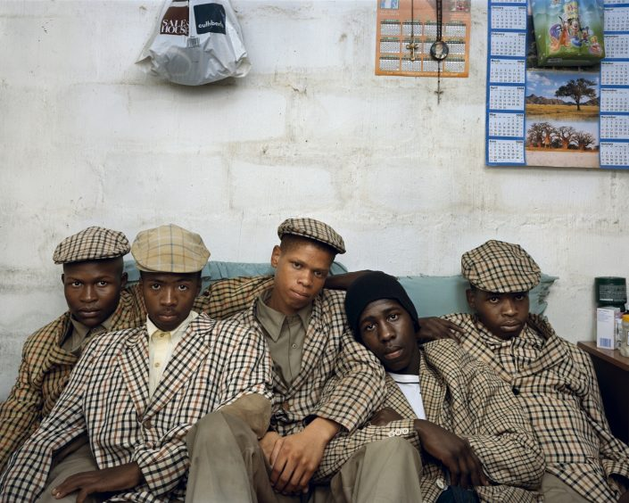 "Pieter Hugo, Loyiso Mayga, Wandise Ngcama, Lunga White, Luyanda Mzantsi, and Khungsile Mdolo after their initiation ceremony, 2008, from ""Kin"""