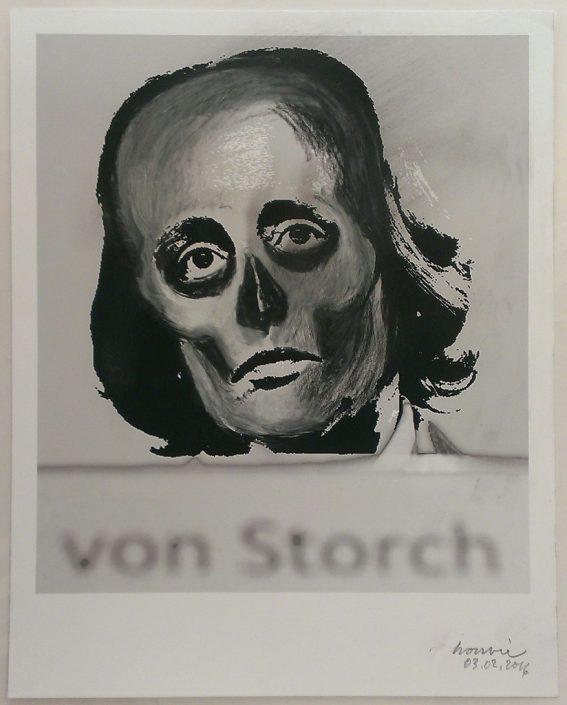 Rudolf Bonvie, Von Storch, 2016 Chalkdrawing on inkjet print 26 × 21 cm
